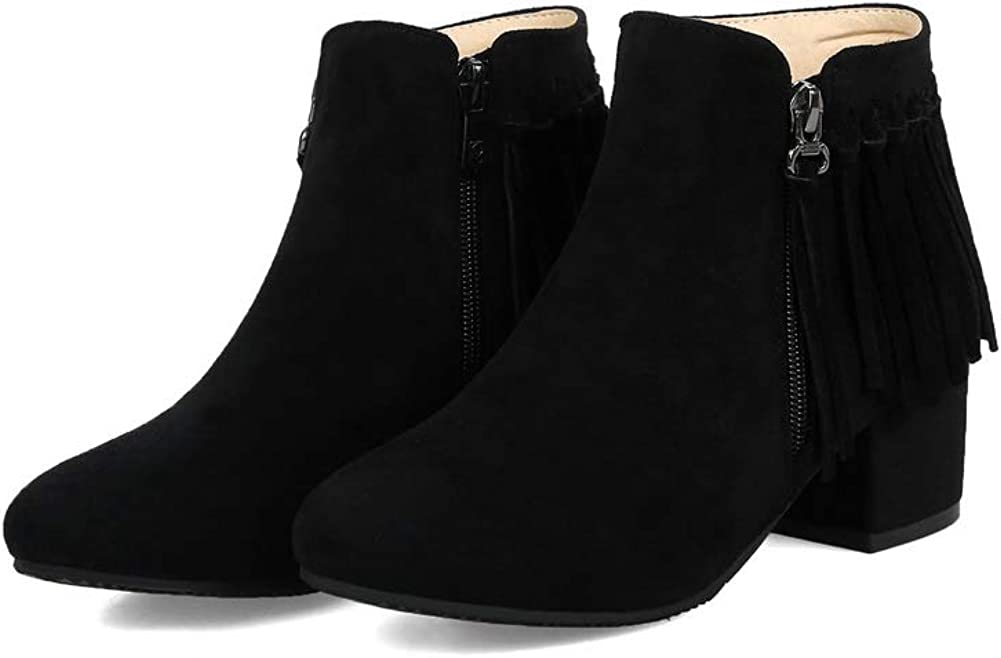 AdeeSu Womens Chunky Heels Pointed-Toe Tassels Imitated Suede Boots SXC03319