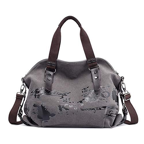 Women Handbag Casual Vintage Hobo Canvas Daily Purse Shoulder Tote Shopper Bag (19.68''H 15.74''L 6.29''W, Gray) ()