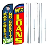 Bad Credit No Credit OK Auto Loan King Windless Flag Sign With Complete Hybrid Pole set - Pack of 2