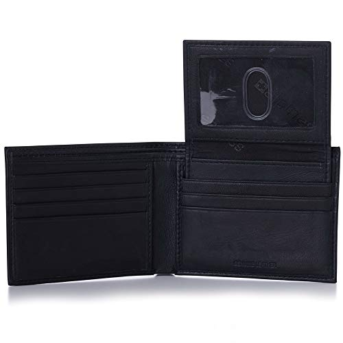Alpine Swiss Mens Leather Bifold Wallet Removable Flip Up ID Window ()