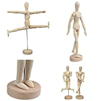 Artist Drawing Manikin Wooden Mannequin Wood Artist Figure Doll Model with Flexible Posable Joints for Aid Human Arts Drawing, Sketching, Painting, Jewelry Display,Home Office Desk Decoration