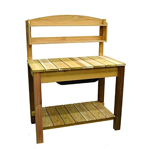 (Arboria Classic Potting Bench - Cedar Garden Work Bench with 2 Shelves, 44.75 x 25.75 x 59.5 Inches)
