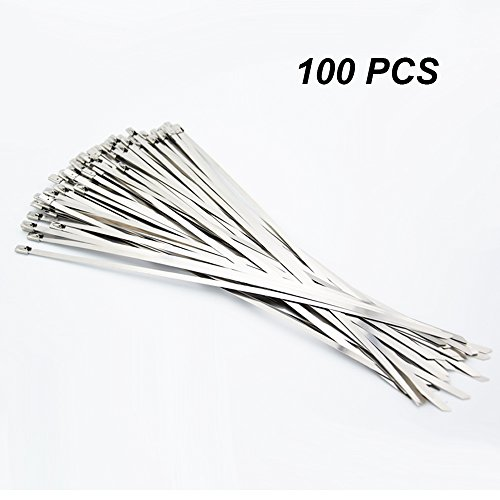 100 Pack 11.8 Inches Stainless Steel Exhaust Wrap Coated Locking Cable Zip Ties