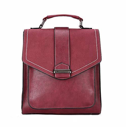 Grande Pu Cuffie Signore Capacità Pelle Perforazione Zaino Mxqh Winered Donne black In Borsa Bag Tessuto Spalla Vintage nHxIqvw8q1