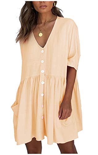 Women's Casual Loose Shirt Dress, Front ButtonsV Collar Blouse Tops with Pockets Champagne