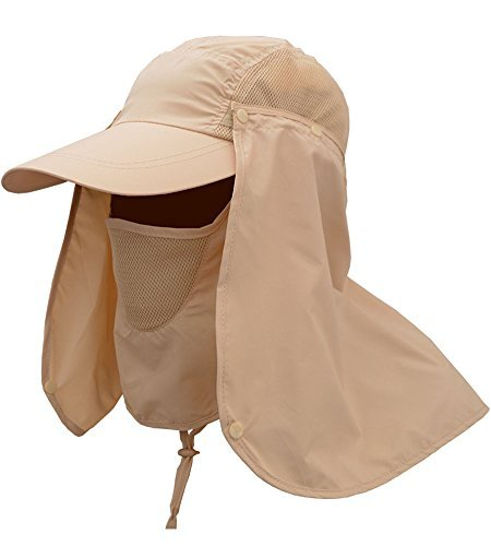 YOYEAH Fishing Hat Sun Hat Outdoor Sport 360° Quick-drying UV50+ Protection Cap with Removable Sun Shield and Mask Khaki