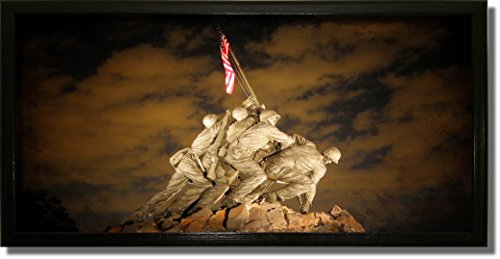 US Marine Corps War Memorial (Iwo Jima Memorial) Picture on Stretched Canvas, Wall Art Decor Ready to - Iwo Jima Flag Marines