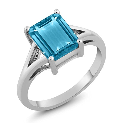 Gem Stone King Sterling Silver Swiss Blue Topaz Women's Engagement Ring Emerald Cut Gemstone Birthstone 3.20 Cttw Available 5,6,7,8,9) (Size 7)