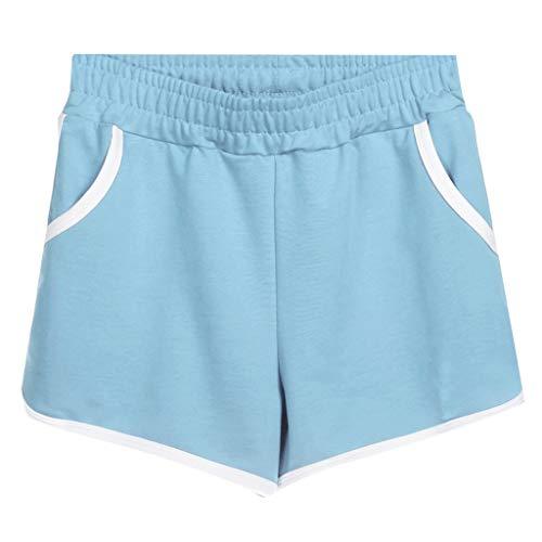 Cotton Plus Size Shorts Women's Sports Shorts Pantd Casual Hot Pants Home Shorts Light Blue