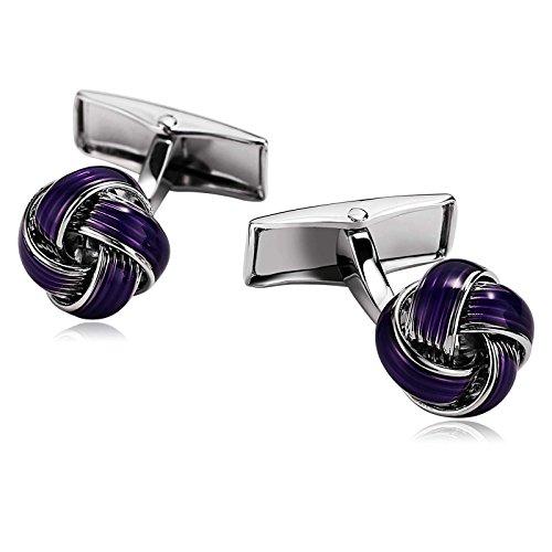 Aokarry Cufflinks-Men's Stainless Steel Love Knot Cuff Links Purple by Aokarry (Image #3)