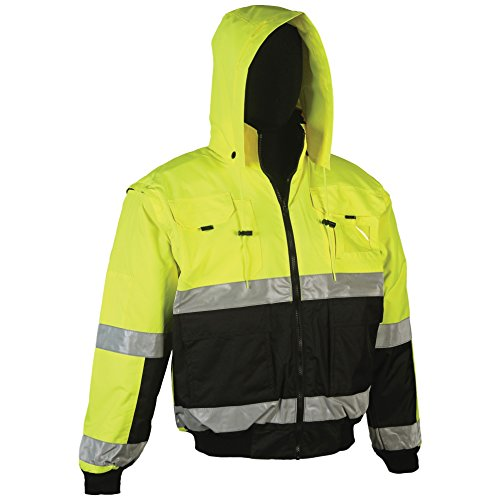 Breakaway Soft Shell Jacket (Brite Safety Style 5025, Reversible Safety Jacket: Hi Vis Bomber: Breathable Waterproof: Hood: 2-Tone, ANSI Class 3 Compliant, for Men or Women (Large, Hi Vis Yellow))