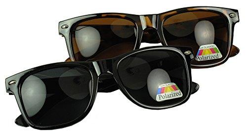 Anti Glare Polarized Lens Trendy 80s Wayfarer Sunglasses Vintage Retro Spring Hinge UV400 Dark Lens Glasses (2PK (Black / - Cheap Sunglasses Shipping Free Wayfarer