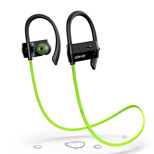 iClever Bluetooth Headphones with Silicone Earhook Secure Fit for Running, Exercise, IPX5 Sweat Proof,CVC 6.0 Noise Canceling,7 Hours Playtime with Mic Volume Control for iPhone, Green(G18)