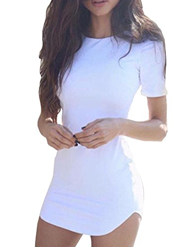 (Haola Women's Sexy Bodycon Tight Short Sleeve Mini T Shirts Dresses Irregular Hem M)