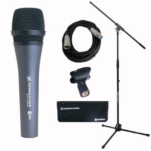 Sennheiser E 835 Dynamic Vocal Microphone Stand Cable Pouch Bundle by Sennheiser