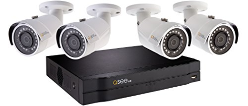Q-See Home Security System (QC894-4ES-1) 4-Weather 1080p HD NVR with 1TB Hard Drive and 98 Night Vision, Indoor and Outdoor, Smart Phone Compatible