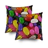 jelly bean cotton candy machine - TOMWISH 2 Packs Hidden Zippered Pillowcase Rainbow Jellybean Candy Jelly Beans Cushion 20X20Inch,Decorative Throw Custom Cotton Pillow Case Cushion Cover for Home