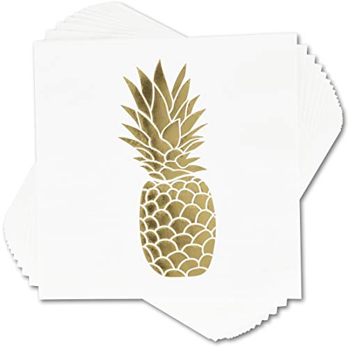 - 50 Pack Decorative Dinner Napkins - Disposable Paper Party Napkins with Gold Foil Pineapple, Perfect for Anniversary Decorations, Birthday Party Supplies, 6.5 x 6.5 Inches Folded, Gold and White