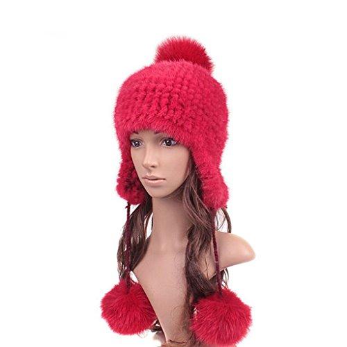 UK.GREIFF Womens Fashion Warm Stretch Mink Fur Bomber Hat Winter Cap