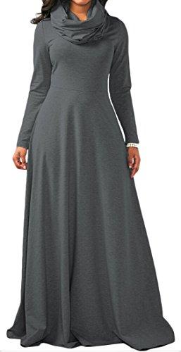 1 Loose Women's Jaycargogo Collar Long Derss Sleeve Fashion Heap PA1qaW