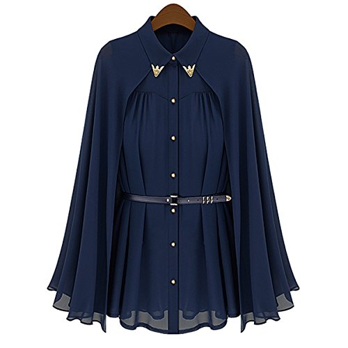 Fenical Sleeveless Women's Loose Cape Style Chiffon Blouse Shirt ...