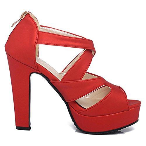Talons Escarpins Femmes Mode Red Hauts Sandales RAZAMAZA wTvq40Zxx