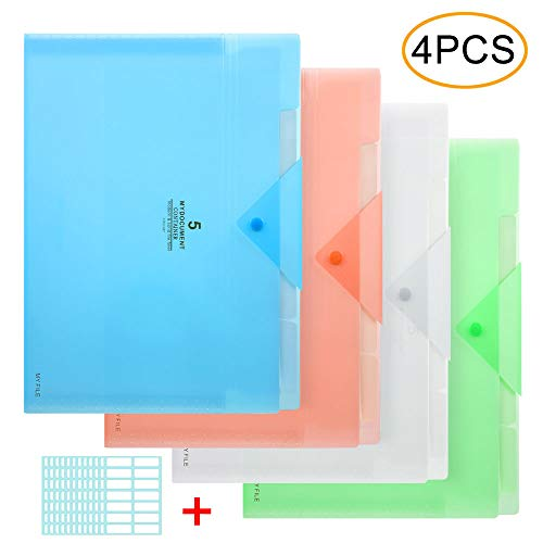 - Expanding File Folder, 5 Pocket Accordion File Organizer A4 Letter Size with 168pcs File Folder Lable for School Office Business Use Blue/Green/Pink/Transparent(4 Pack)