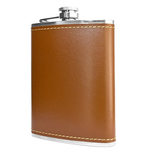 Premium 8 oz Soft Touch Leather Wrap Outdoor Adventure Flask 304 Stainless Steel Leak Proof Liquor Hip Flask by Future Hydrate Includes Free Bonus Funnel (8 ounce capacity)