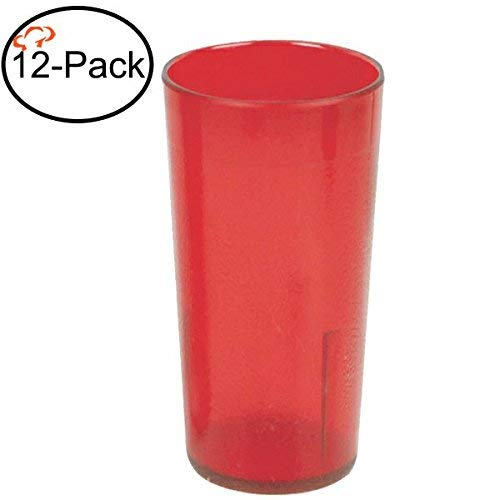 Tiger Chef 16-Ounce, 12-Pack Red Stackable Shatter-Resistant Restaurant Beverage Cup Plastic Tumbler Set