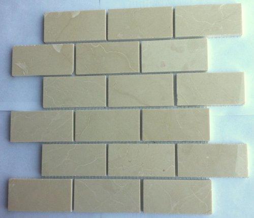 2x4 Crema Marfil Marble Polished Mosaic Tiles