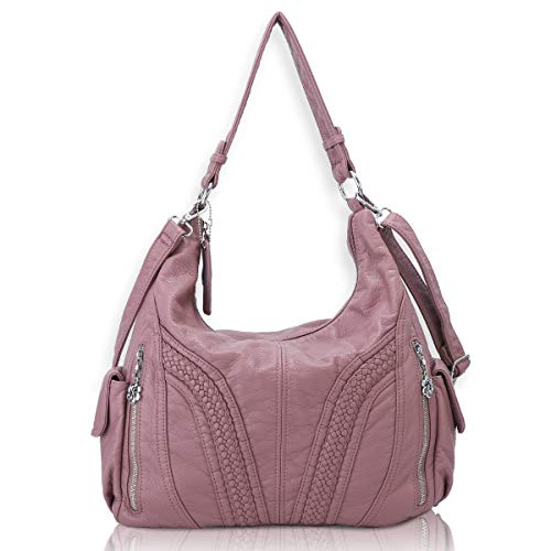 Angel Barcelo Roomy Fashion Hobo Womens Handbags Ladies Purse Satchel Shoulder Bags Tote Washed Leather Bag Pink