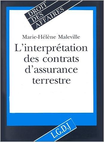 Livre gratuits L'interprétation des contrats d'assurance terrestre epub pdf