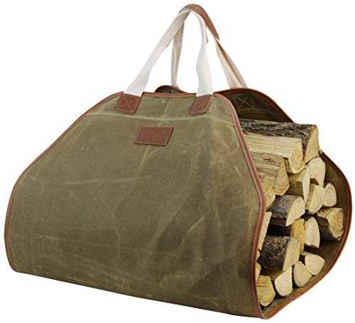 Places Holder (INNO STAGE Canvas Log Carrier Bag,Durable Wood Tote,Fireplace Stove Accessories,Extra Large Firewood Holder with Handles for Camping Khaki)