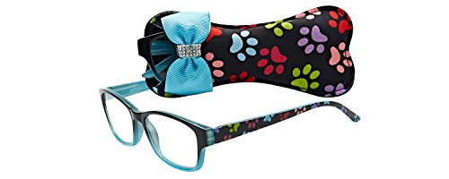 Select-A-Vision Dog Bone Square Reading Glasses w/Colorful Pawprints, Blue, 1.25