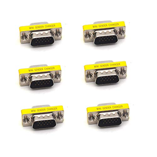 (Antrader 6PCS DB15 VGA SVGA KVM Male to Female M/F Mini Gender Changer Coupler Adapter Connector for PC)