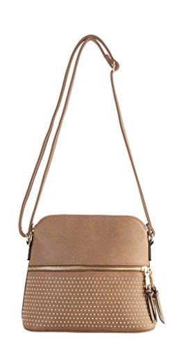 Diophy PU Leather Golden Beads Décor Front Zipper Pocket with Tassels Cross Body Handbag MY-6456