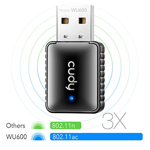 Cudy WU600 AC 600Mbps USB WiFi Adapter for PC, 5GHz / 2.4GHz WiFi Dongle, WiFi USB, USB Wireless Adapter for Desktop/Laptop - Mini Size, Auto Installation, Compatible with Windows XP/7/8/8.1/10