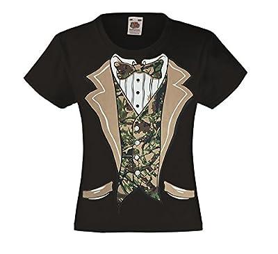Fresh Tees Camo Tuxedo with Bowtie T-shirt Funny Kids Costume Shirts