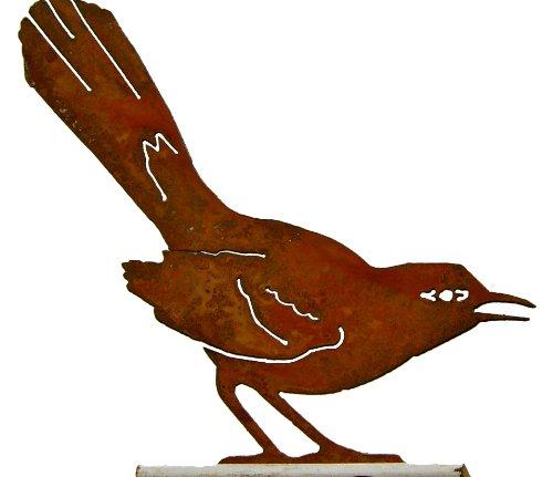 Elegant Garden Design Mockingbird, Steel Silhouette with Rusty Patina