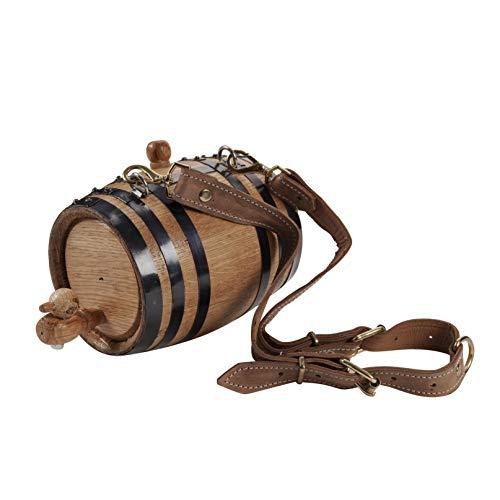 (KegWorks St. Bernard Dog Collar Wood Rescue Barrel - Black Bands - 1 Liter Capacity)