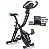 ANCHEER Folding Exercise Bike, Home Slim Cycle Stationary Bike with 10-Level Adjustable Magnetic Resistance & APP Program & Comfortable Seat for Home Gym Cardio Fitness