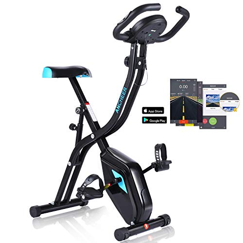 ANCHEER Folding Exercise Bike, Home Slim Cycle Stationary Bike with 10-Level Adjustable Magnetic Resistance & APP Program & Comfortable Seat for Home Gym Cardio Fitness (Black_Blue(APP_Control))