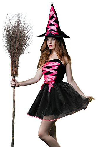Evil Fairy Costume (Adult Women Witch Costume Sorceress Halloween Cosplay Role Play Wicked Dress Up (Small/Medium, Black, Pink))