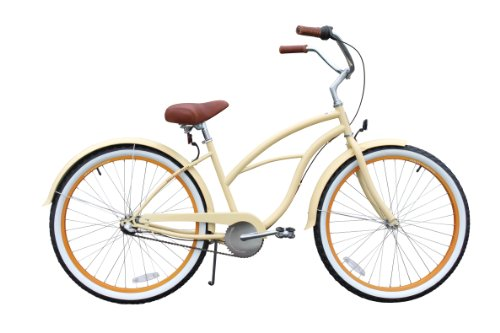 sixthreezero Womens 3-Speed Beach Cruiser Bicycle, Scholar Cream w/Brown Seat/Grips, 26 Wheels/17 Frame