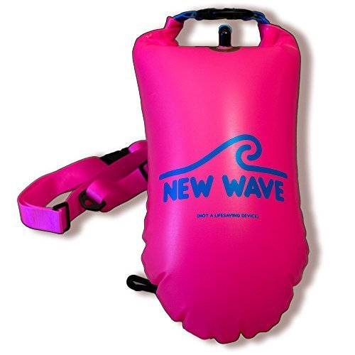 New Wave Swim Buoy - Swimming Safety Float for Open Water Swimmers, Triathletes and Snorkelers, Highly Visible Buoy Float for Safe Ironman Swim Training (Pink PVC Medium-15L)