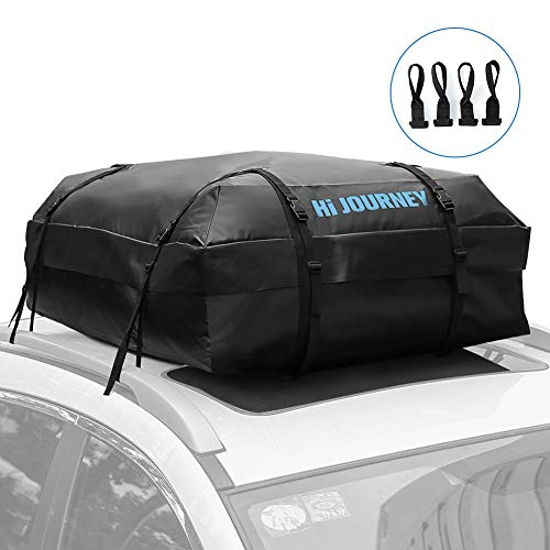 (Tchipie Rooftop Cargo Carrier Bag Waterproof Car Roof Top Cargo Luggage Bag with 4 Door Hooks - Fits All Cars Vehicles with/Without Rack, 15 Cubic Feet)