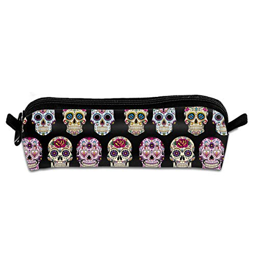Wodehous Adonis Day Of The Dead Sugar Skulls Canvas Cosmetic Pen Pencil Stationery Pouch Bag Case ()