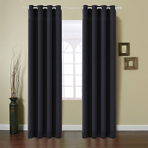 Fairyland Blackout Window Curtains Grommet Thermal Insulated Drapes 2 Panels 250g for Bedroom&living Room(Black, 52x84 in) Cross Weave Patio