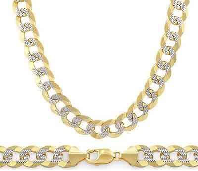 14k Yellow White Gold Cuban Curb Bracelet Link Solid Mens 9.6mm 8.5
