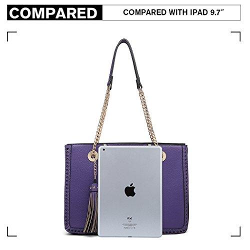Bag Lulu Miss Handbags Design Front Shoulder Tassel with Logo Block Chain M Leather Pu Purple Women d4pwqwXfr